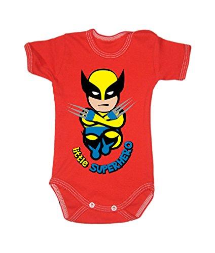 Colour Fashion Grenouillère à manches courtes pour bébé de 24 mois, 100 % coton, motif Wolverine Red tiny baby, 52 cm
