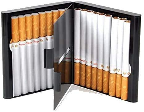 Zigarettenetui Lagerung für 20 Zigaretten Halter Zigarettenschachtel zigarettenhülle zigarettendose Double Sided Flip Open Pocket-Zigarettenetui Storage Container Geschenke (Black)