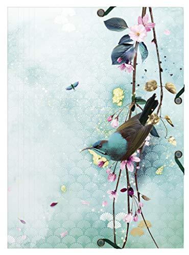 Clairefontaine 115466C - Cartellina elastica con 3 alette A4, motivo floreale e uccelli, finitura lucida, collezione Sakura Dream, 1 visiva scuro, 1 chiara