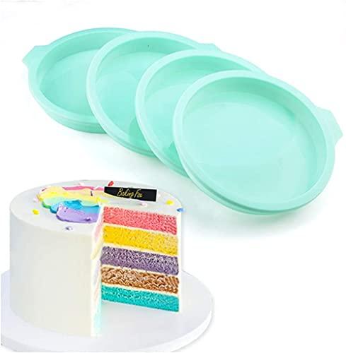 KONGWU Juego de 4 moldes de silicona para hornear con capa redonda para tartas, base para hornear, revestimiento antiadherente, molde para hornear de 6 pulgadas, color verde increíble