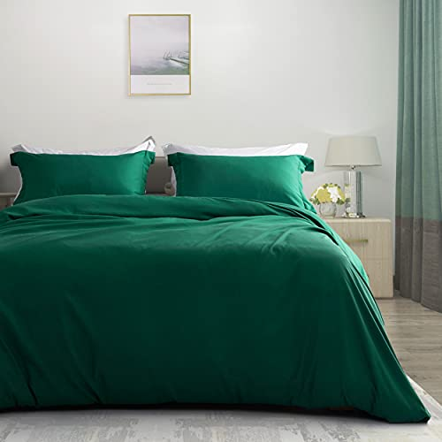 Ousidan 3 Pieces Duvet Cover Set Soft Brushed Microfiber Cover Set 1 Comforter Cover 2 Pillow Shams with Button Closure and Concealed Ties. (King-106x90inches, Emerald Green)