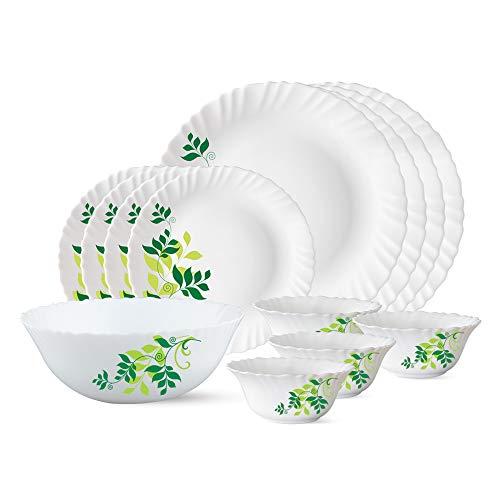 Larah by Borosil Fern Opalware Dinner Set, 13-Pieces, White