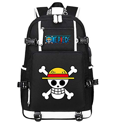 ZZGOO-LL One Piece Monkey·D·Luffy Anime Backpacks Student School Bag Laptop Backpack with USB Charging Port-C