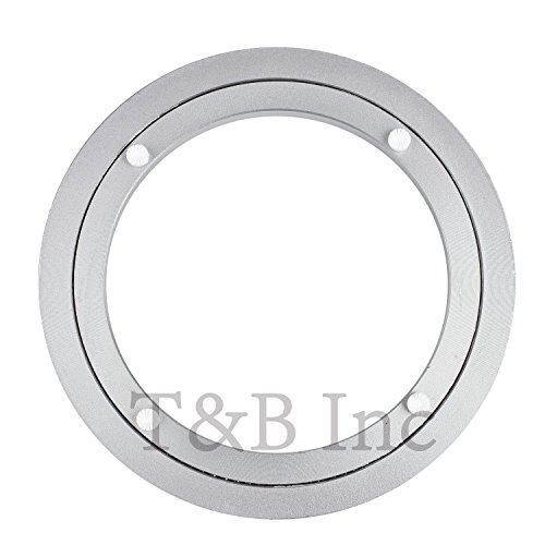 TamBee 8 Inch Aluminum Lazy Susan Heavy Duty Metal Rotating Hardware Turntable Bearings Ring 200mm Silver Turntable on Dining-Table