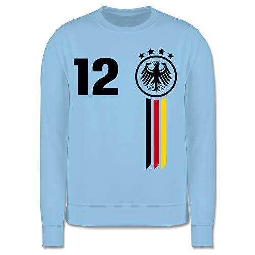 Shirtracer Fußball-Europameisterschaft 2021 Kinder - 12. Mann Deutschland WM - 152 (12/13 Jahre) - Hellblau - Deutschland fußball Pullover - JH030K - Kinder Pullover
