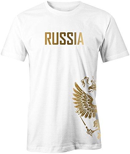 Jayess WM 2018 - Russland - Russia - Adler Gold - Fanshirt - Herren T-Shirt in Weiss by Gr. XXXL