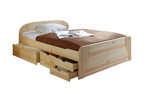 Ticaa Doppelbett mit Schubkästen Erna Kiefer Natur