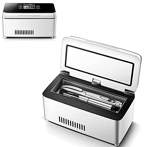XYEJL Portátil Refrigerador Insulina Nevera,insulina Medicamento Coche Nevera para Refrigeración De Interferón, Insulina Y Otros Medicamentos,2*Battery