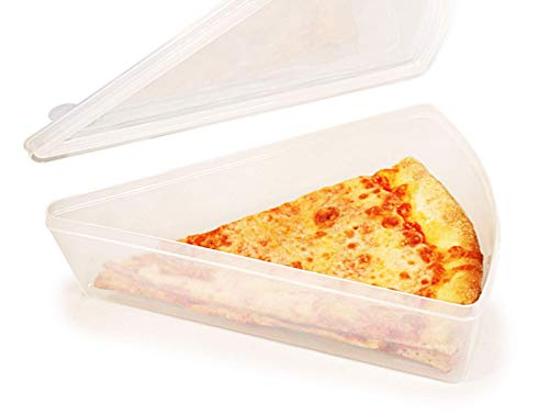 Jumbo New York Pizza Slice Clear Plastic Containers - Microwaveable and Freezer Friendly BPA-Free Easy OpenClose lids Fit Multiple NY Pizza Slices Stackable Container wlids