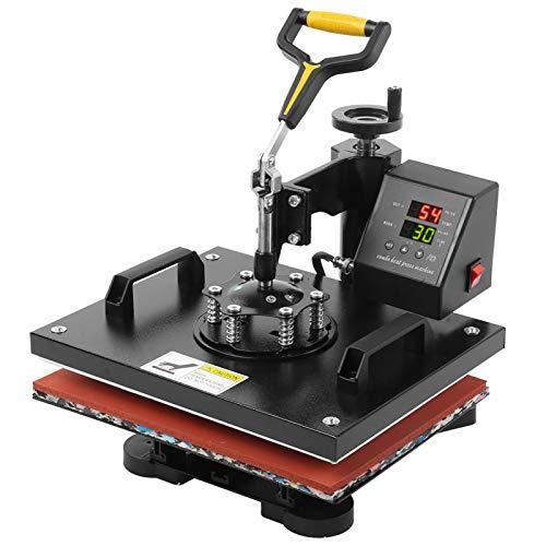 AYNEFY Prensa de impresión, prensa de transferencia 5 en 1, pantalla doble, 29 x 38 cm, prensa de calor, impresora de transferencia de calor, conector de la UE para camisetas y tazas