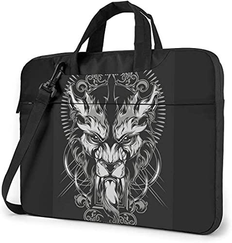 Laptop Shoulder Bag,Cool Lion King Totem Black Shockproof Laptop Sleeve Cover Business Messenger Bag Briefcase Handbag Case 13/14/15.6 inch