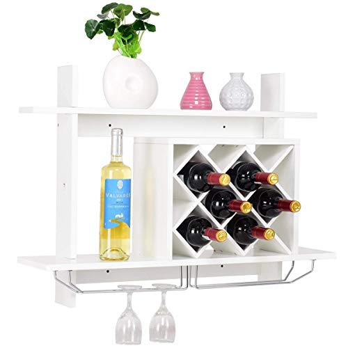 Giantex Wall Mounted Wine Rack Organizer W/Metal Glass Holder & Multifunctional Storage Shelf Modern Diamond-Shaped Wood Wine Server for 6 Bottles Wine Storage Display Rack (White)