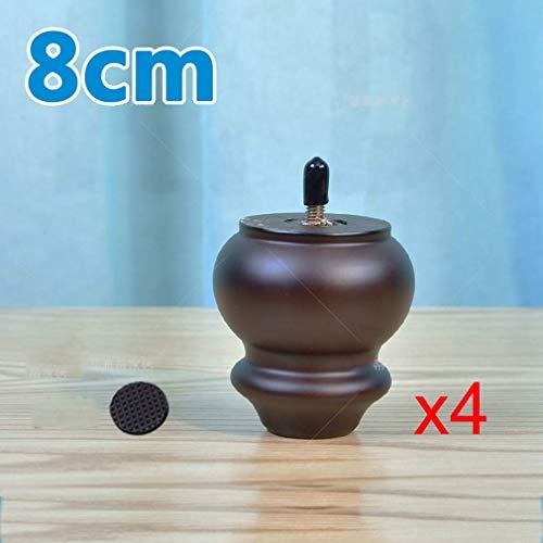 DX meubelpoten van massief hout, voeten van hout, reservevoeten, tafelpoten, bedpoten, bouten M8, voor kledingkast, bed, 4 verpakkingen (18 cm)