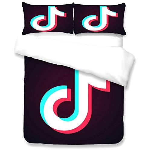 Wangxin Tik Tok 3D Dreiteiliges Bettwäscheset,Bettbezug FüR Den Haushalt,Mit Bettbezug und Kissenbezug,Mikrofaser aus 100% Polyester(Keine Statische Aufladung) L-135 * 200cm