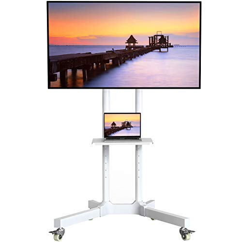 Mobile TV Cart with Wheels for 32-75 Inch LCD LED 4K Flat Curved Screen TVs- Height Adjustable Rolling TV Stand Hold Up to 132 lbs- Trolley Floor Stand with Tray Max VESA 600x400mm White