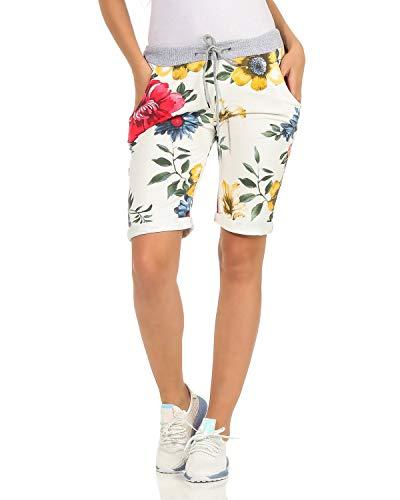 ZARMEXX Damen Shorts Capri Bermuda Boyfriend Kurze Sommerhose Sporthose Hot Pants Muster 22 One Size (40-44)