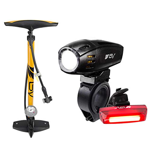 BV Bike Floor Pump and Rechargeable Light Set