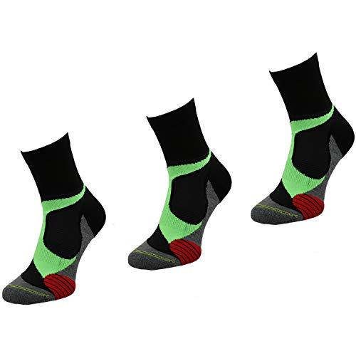 Comodo Calcetines cómodos para hombre y mujer, antideslizantes, 3 calcetines deportivos cortos para correr, fitness, RUN4 gr 43-46 negro/gris/verde