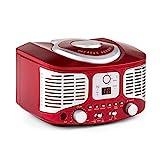 auna - RCD320, Radio CD, Equipo estéreo, Radio de Cocina, Retro, Nostálgico, Reproductor de CD, FM, AUX, Pantalla Digital, Programación de reproducción, Cable de Antena, Portátil, Rojo