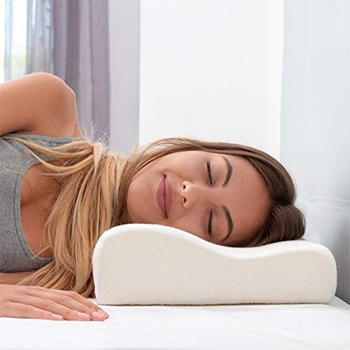Ozoy Memory Foam Cervical Contour Medical Pillow for Sleeping Orthopedic Pillows for Neck Back Shoulder Support Pain Relief cusion Soft Firm Pillow (Off White)