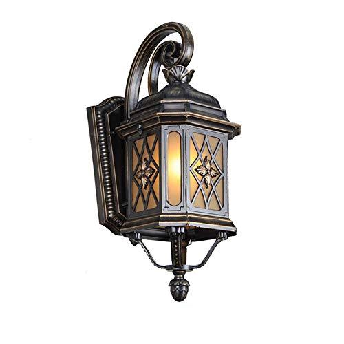 Lámpara de Pared, Apliques de Pared para Exteriores Lámpara de Exterior de Color Negro pardusco Impermeable Aluminio Aplique de Pared para Interiores para Exteriores Pantalla de Metal Vidrio marrón