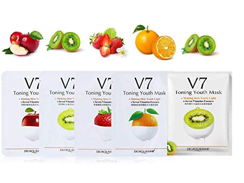 Face Sheet Mask serum vitmani C for brightening and glowing skin combo pack for men and women facial serum skin care brightening masks dry oily skins (Pack of 5)