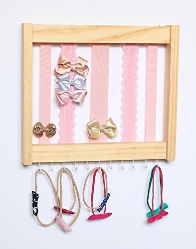 Monogrammed Hair Bow Holder Personalized Hair Bow Organizer Pink /& Gold Wood Bow Holder