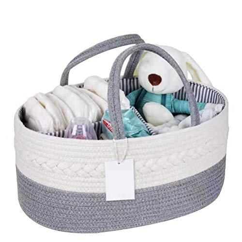 Tixiyu Tragbarer Aufbewahrungskorb für Kinderwindeln, aus Baumwollseil, 38,9 x 24,9 x 18 cm