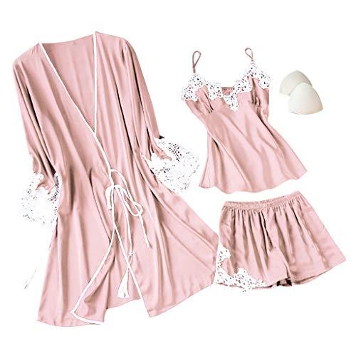 Fenverk 3Stück Negligees Damen Sexy Dessous Silk Kimono Dressing Babydoll Spitze Dessous Gürtel Bademantel Nachtwäsche Unterwäsche Lace Bodysuit(3PC Rosa,XL)