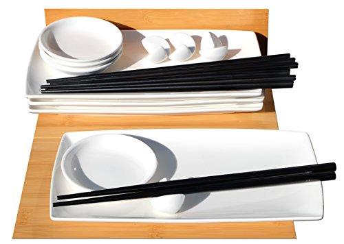 Gifts Of The Orient GOTO® Japanische Art weiße Sushi gesetzt für 4,