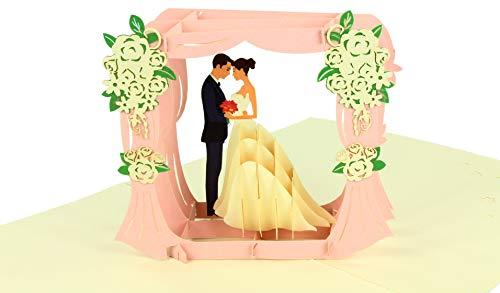 BELLI CARDS Hochzeitskarte 3d Glückwunschkarte Brautpaar Hochzeit Pop Up Faltkarte mit Umschlag für die Hochzeit Glückwünsche Einladung - Brautpaar rosa - 15x20cm (B x H)