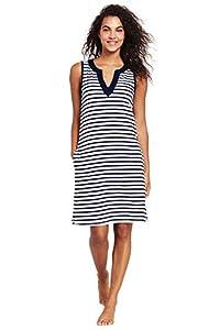 Lands' End Womens Cotton Jersey Sleeveless Cover-up Dress Colorblock White/deep Sea Stripe Regular X-Large