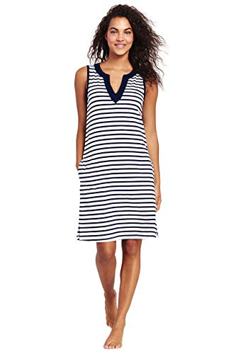 Lands' End Womens Cotton Jersey Sleeveless Cover-up Dress Colorblock White/deep Sea Stripe Regular X-Large