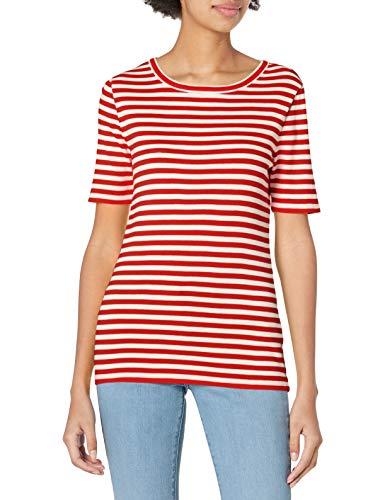 J.Crew Mercantile Damen Slim Perfect Stripe T-Shirt, Elfenbeinfarbene lebendige Flamme, Groß