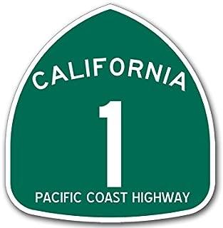 American Vinyl GREEN California 1 PCH Pacific Coast Highway Sign Shaped Sticker (road rv ca travel)