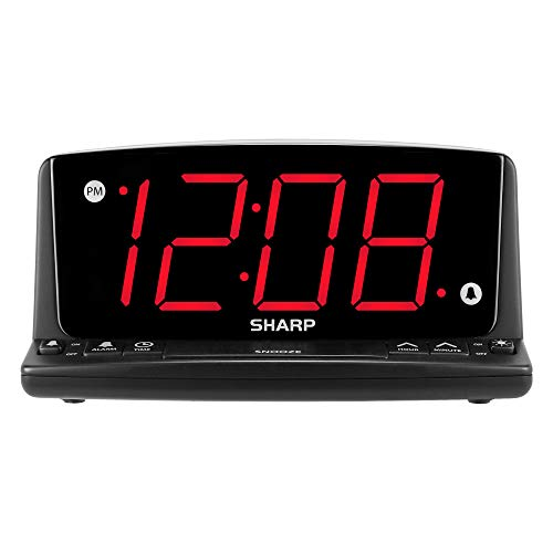 Sharp LED Digital Alarm Clock – Simple Operation - Easy to See Large Numbers, Built in Night Light, Loud Beep Alarm with Snooze, Bright Big Red Digit Display