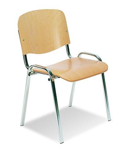 4er SET Mehrzweckstuhl ISO Wood Chrom Buche Besucherstühle