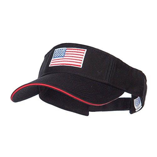 American Flag Embroidered Cotton Sandwich Visor - Black Red OSFM