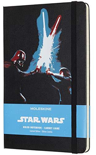 Moleskine Taccuino Star Wars in Edizione Limitata, Notebook a Righe con Grafica e Dettagli a Tema Star Wars, Tema Battaglia Spade Laser, Formato Large 13 x 21 cm, Colore Nero, 240 Pagine
