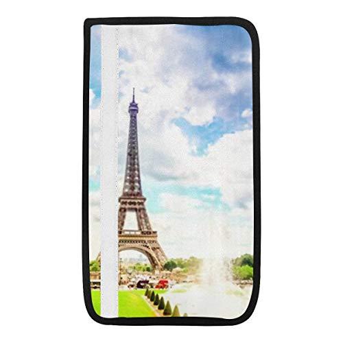 Universeller Autositzgurtpolsterbezug, Eiffelturm Trocadero-Brunnen Paris Frankreich Sicherheitsgurt-Schultergurtbezüge, weicher Komfort schützt Ihren Nacken