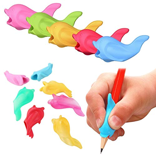 LIPROFE 15PCS Silicone Pencil Grips Ergonomic Writing Claw Aid Right Handed Pen Training Pencil Holder for Kids Students Adults Assorted Colors