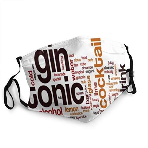 Bandana riutilizzabile a mezza faccia,Lemon Cold Juice Gin Tonic Word Liquid Cloud Ghiaccio Cocktail Fetta di alcol Barra alcolica Bevanda agrumi,Coprivaso sportivo regolabile