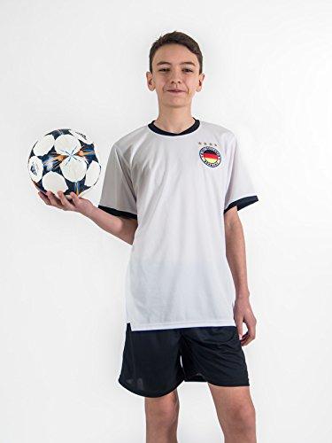 Unbekannt Fußball Trikotset Trikot Kinder 4 Sterne Deutschland Wunschname Nummer Geschenk Größe 98-170 T-Shirt Weltmeister 2014 Fanartikel EM 2016 (140)