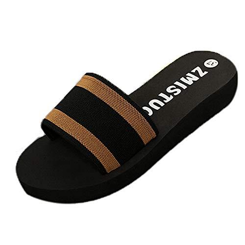 Femmes compensées Ouverte Sandales de Mode D'été intérieur Pantoufle de Plage épais Wedges Chaussures Dames Tongs LianMengMVP
