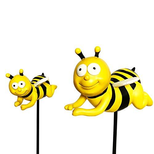 OF 2er Set Gartenstecker süsse Bienen - Beetstecker Biene - Wetterfest