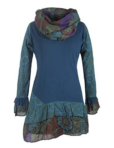 Vishes - Alternative Bekleidung - Damen Langarm Mandala Rüschen-Kleid mit Kapuzenschal türkis 42-44