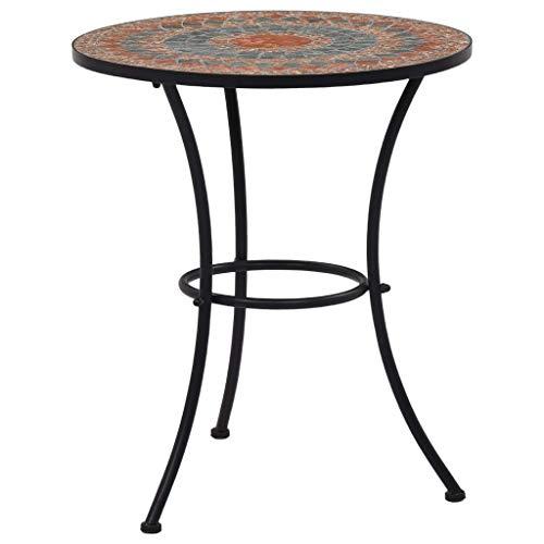 vidaXL Mosaic Bistro Table Outdoor Garden Balcony Side Tables Patio Furniture Plant Desks Brown 60 cm Orange and Grey