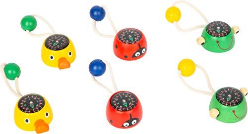 small foot 11747 Mini-Kompass Tiere aus Holz, mit Schnur zur Befestigung, Entdeckerspielzeuge für Kinder ab 3 Jahren Toys