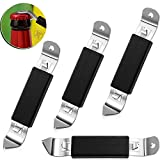4 Pieces Magnetic Bottle Openers Classic Stainless Steel Bottle Openers Can Tapper Bottle Opener with Magnet for Camping and Traveling