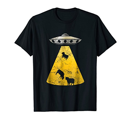 Vintage Alien UFO Cow Abduction Roswell Retro T Shirt Yellow